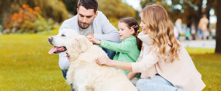 Family with child and dog